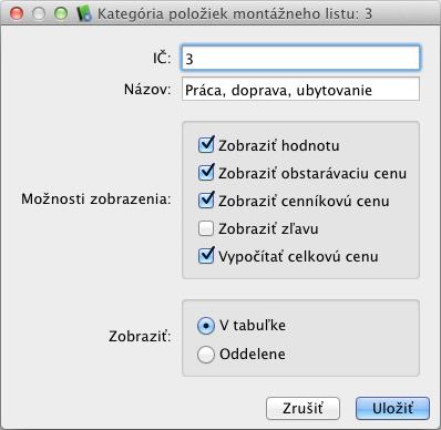 Dialógové okno vytvárania kategórie položiek montážneho listu